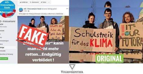 AfD fälscht Protest-Schilder demonstrierender Schüler gegen den Klimawandel