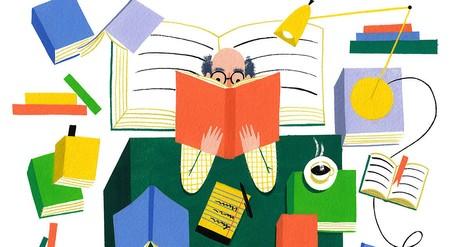 Ein Mann rezensiert sich durch die Literaturgeschichte