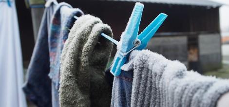 Mit Kälte Wäsche trocknen