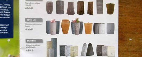 """Stilfragen 1: Katalog """"Regenspeicher"""" von OBI"""